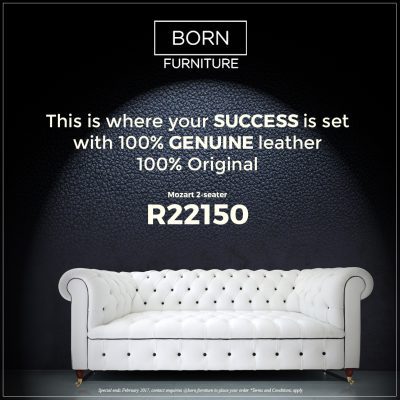 Born Furniture Mozart Chesterfield in 100% genuine leather, classic chesterfield
