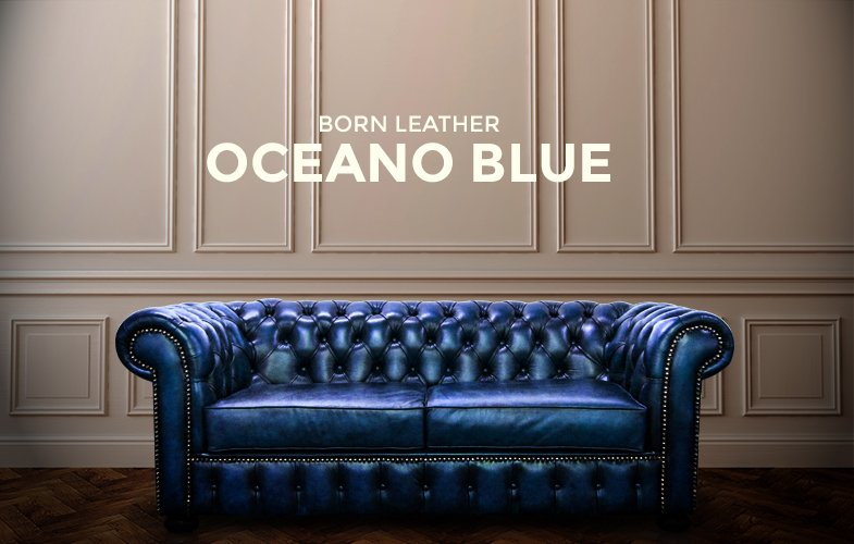 blue leather couch, blue leather chesterfield, blue leather sofa