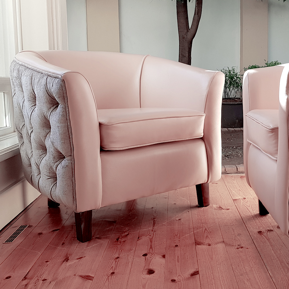 Pink And Grey Tub Chair