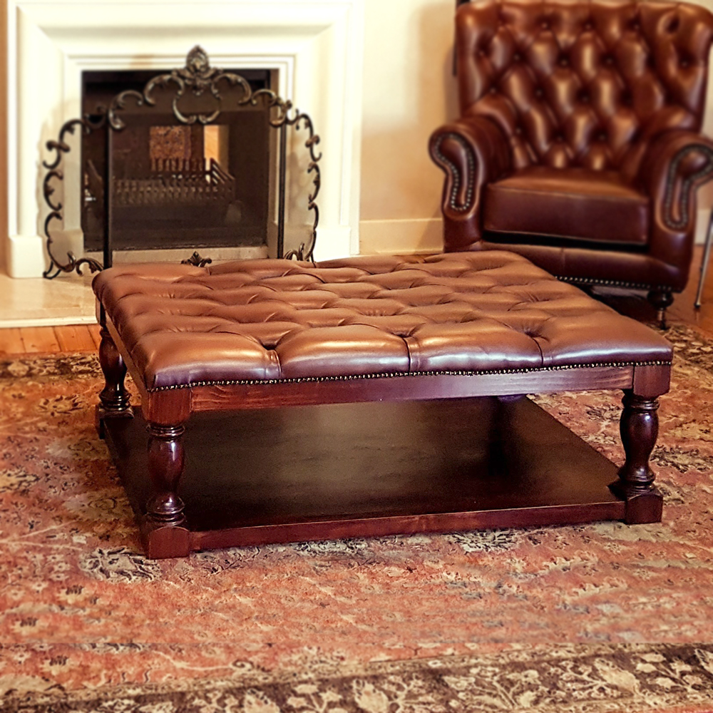 English Ottoman in leather