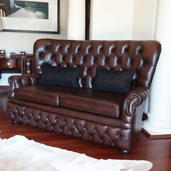 Harlington Highback Chesterfield 2 seater in brown leather - B O R N